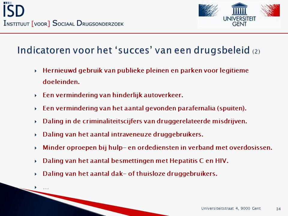 Indicatoren voor het 'succes' van een drugsbeleid (2)