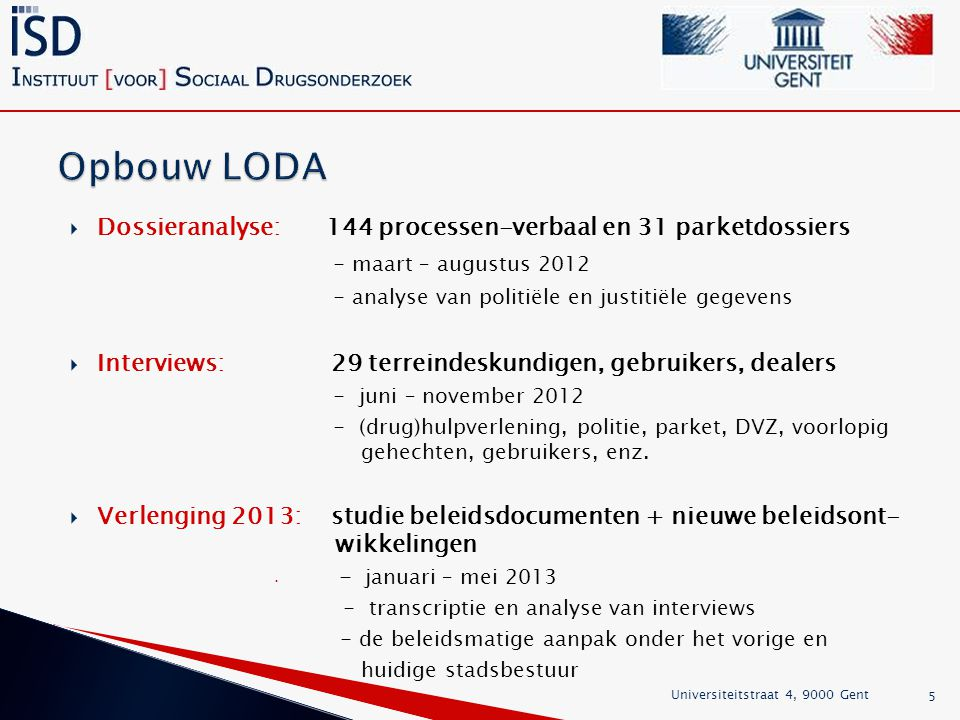 Opbouw LODA - maart – augustus 2012