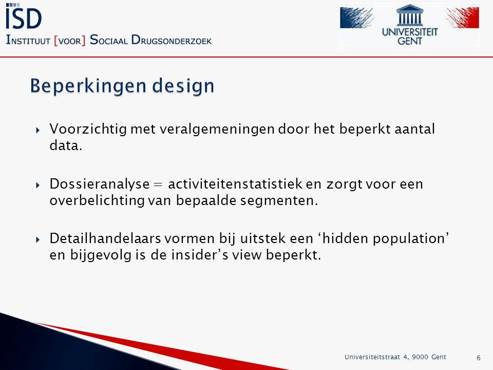 Beperkingen design Voorzichtig met veralgemeningen door het beperkt aantal data.
