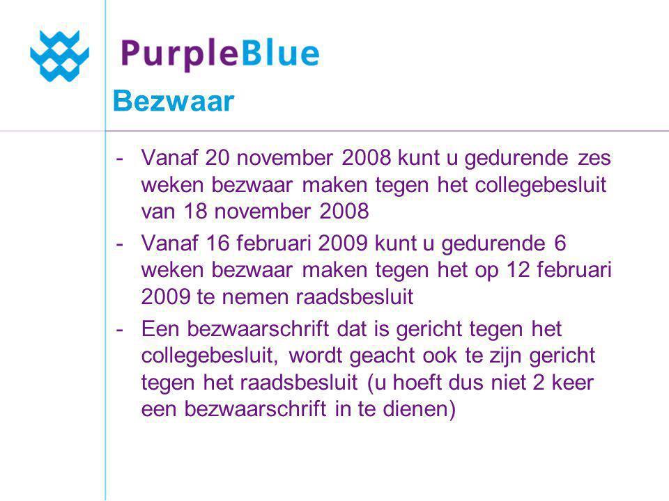 Bezwaar Vanaf 20 november 2008 kunt u gedurende zes weken bezwaar maken tegen het collegebesluit van 18 november 2008.