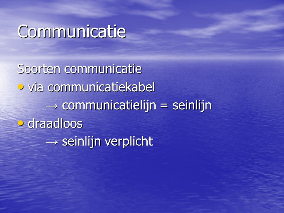 Communicatie Soorten communicatie via communicatiekabel