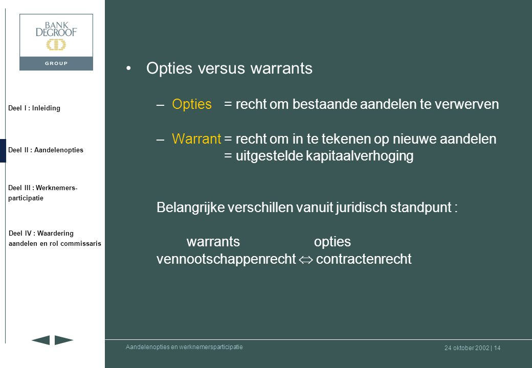 Opties versus warrants
