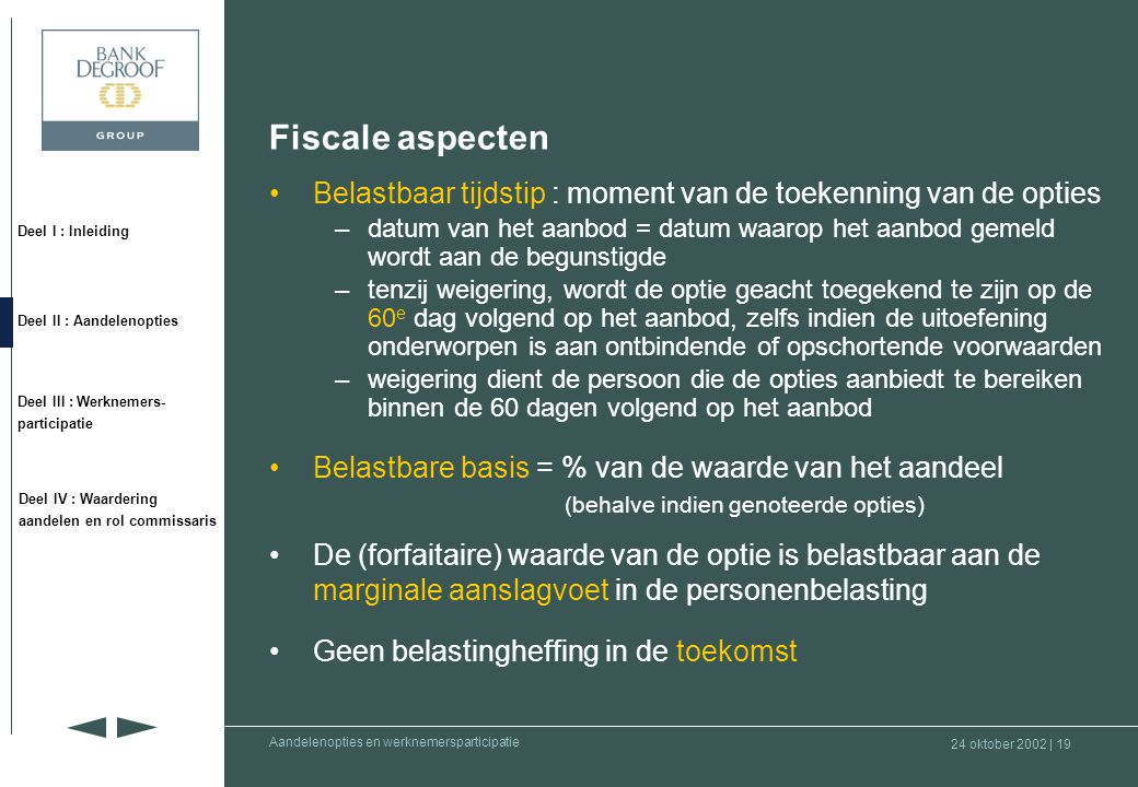 Fiscale aspecten Belastbaar tijdstip : moment van de toekenning van de opties.