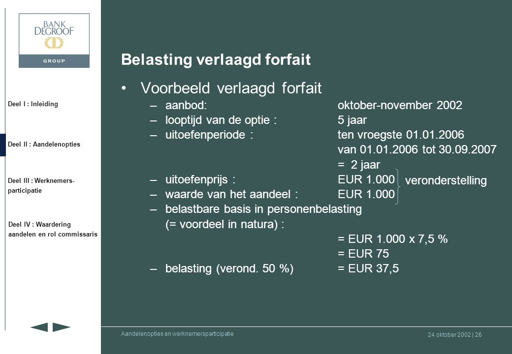 Belasting verlaagd forfait Voorbeeld verlaagd forfait