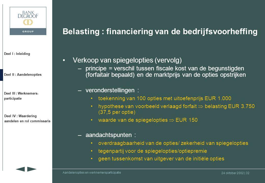 Belasting : financiering van de bedrijfsvoorheffing