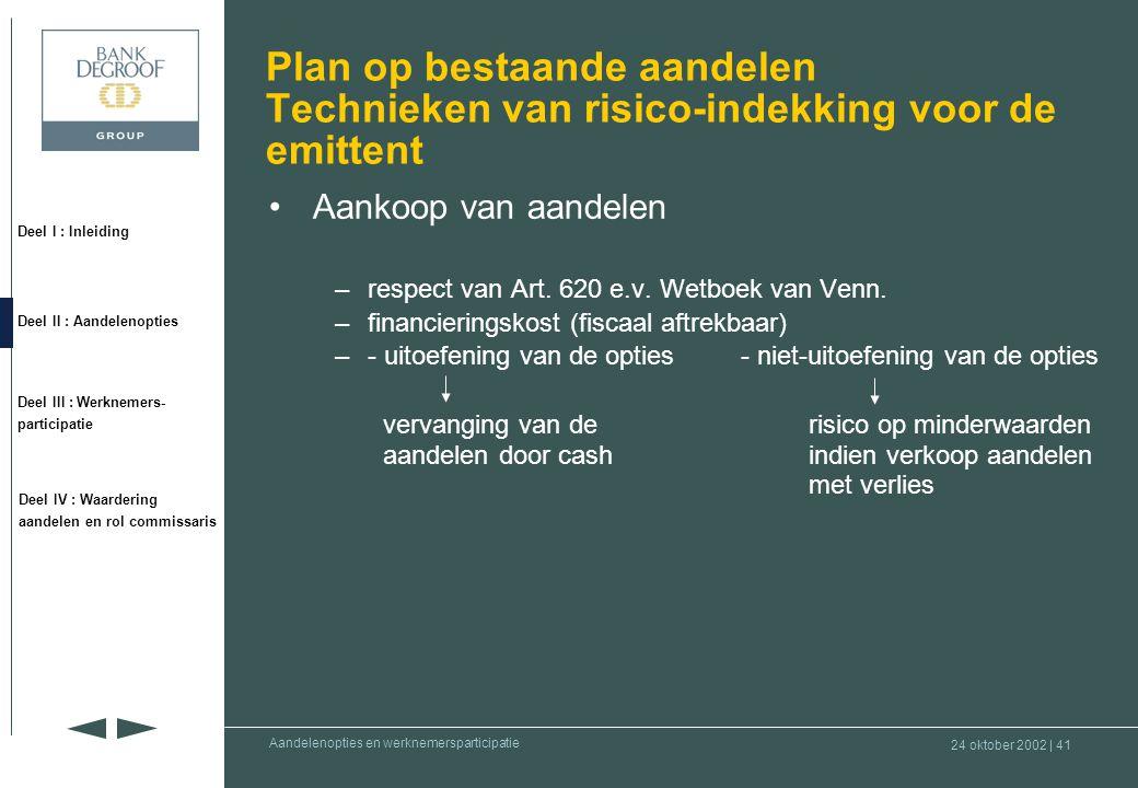 Plan op bestaande aandelen Technieken van risico-indekking voor de emittent