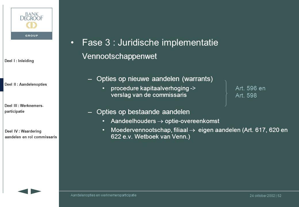 Fase 3 : Juridische implementatie Vennootschappenwet