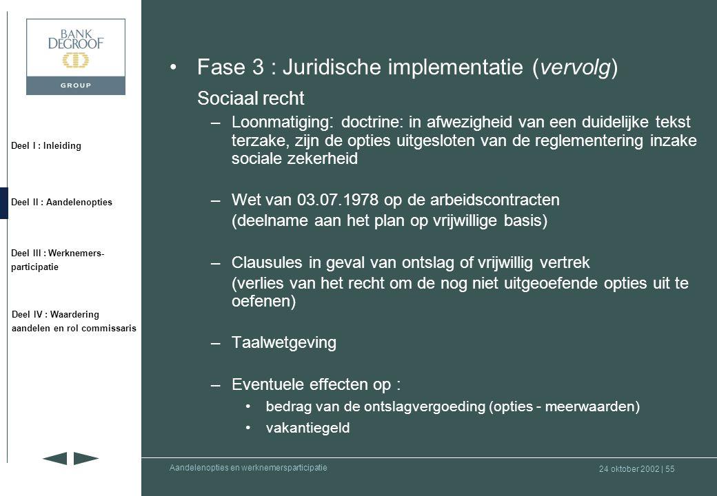 Fase 3 : Juridische implementatie (vervolg) Sociaal recht