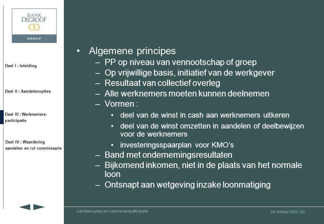 Algemene principes PP op niveau van vennootschap of groep