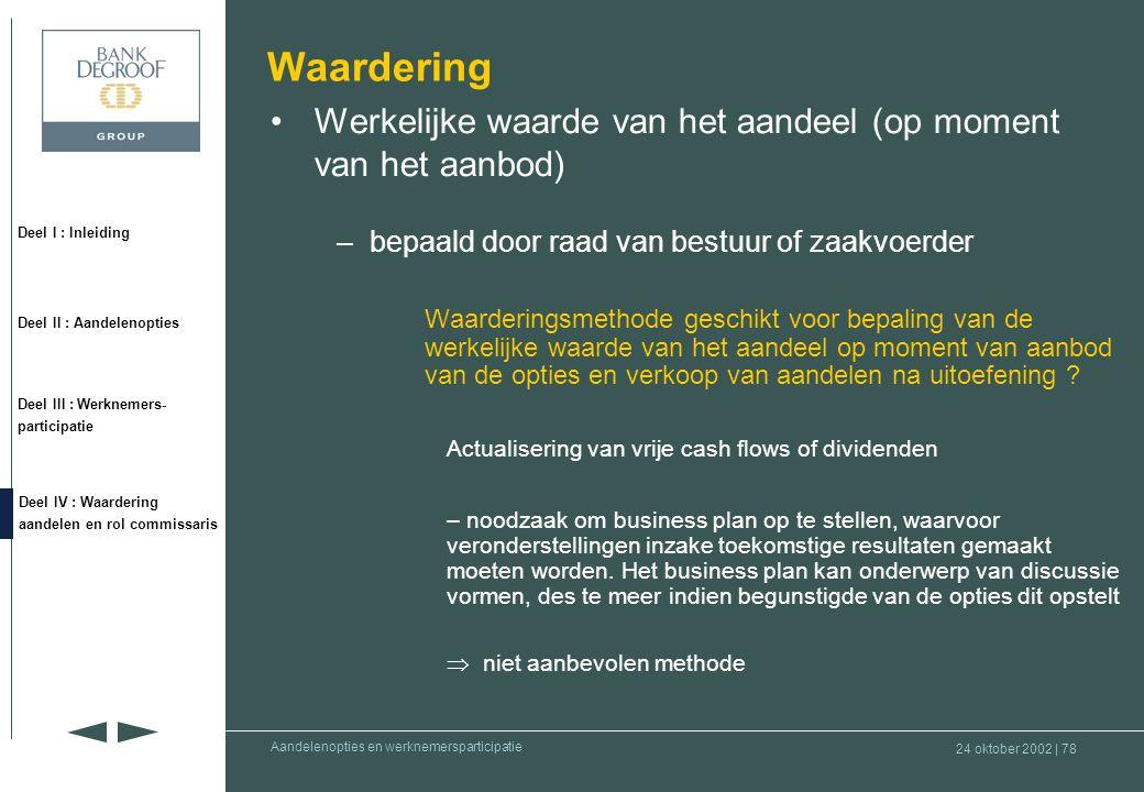 Waardering Werkelijke waarde van het aandeel (op moment van het aanbod) bepaald door raad van bestuur of zaakvoerder.
