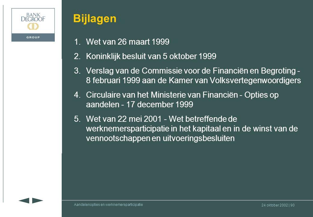 Bijlagen 1. Wet van 26 maart 1999. 2. Koninklijk besluit van 5 oktober 1999.