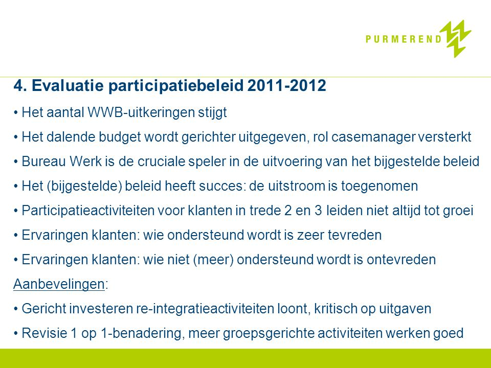4. Evaluatie participatiebeleid 2011-2012