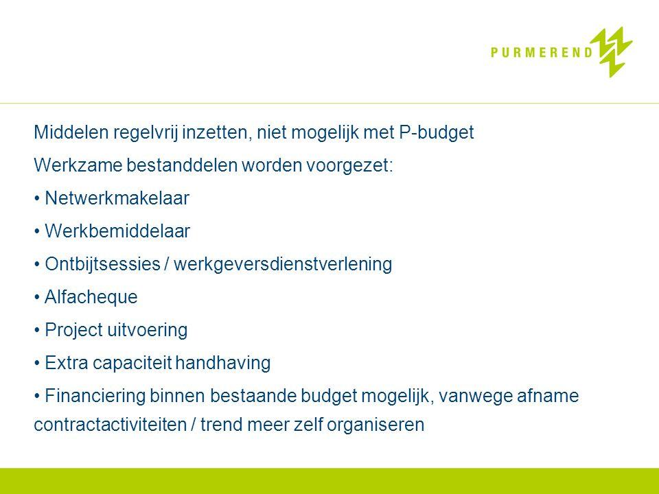 Middelen regelvrij inzetten, niet mogelijk met P-budget