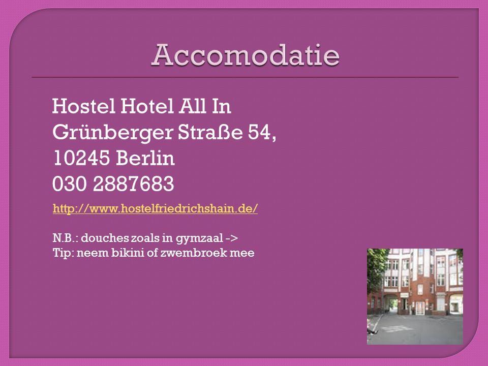 Accomodatie Hostel Hotel All In Grünberger Straße 54, 10245 Berlin