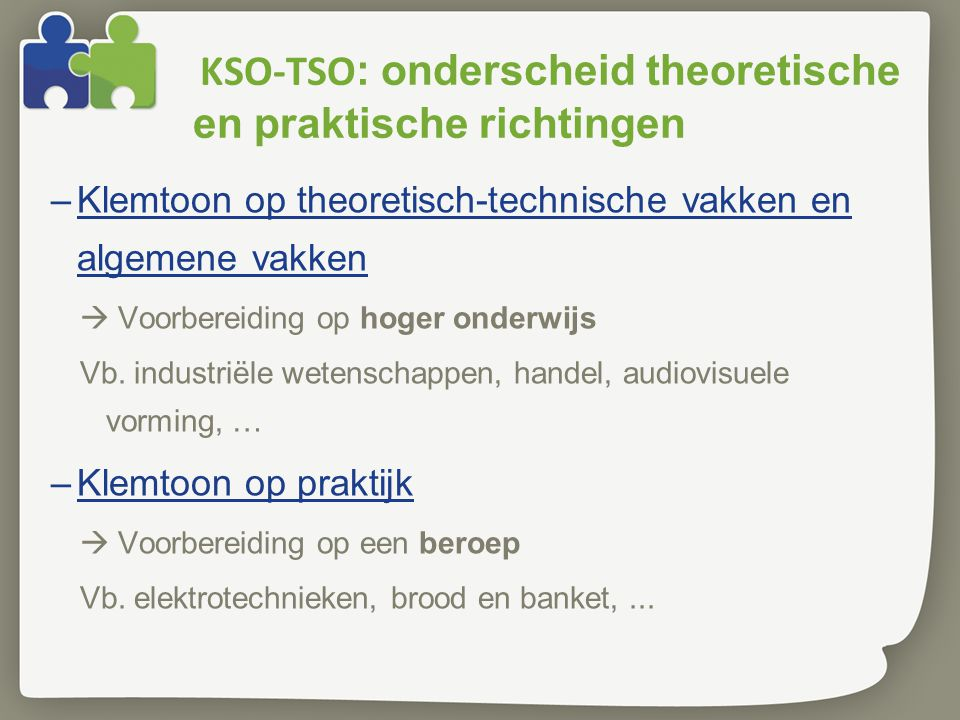 KSO-TSO: onderscheid theoretische en praktische richtingen