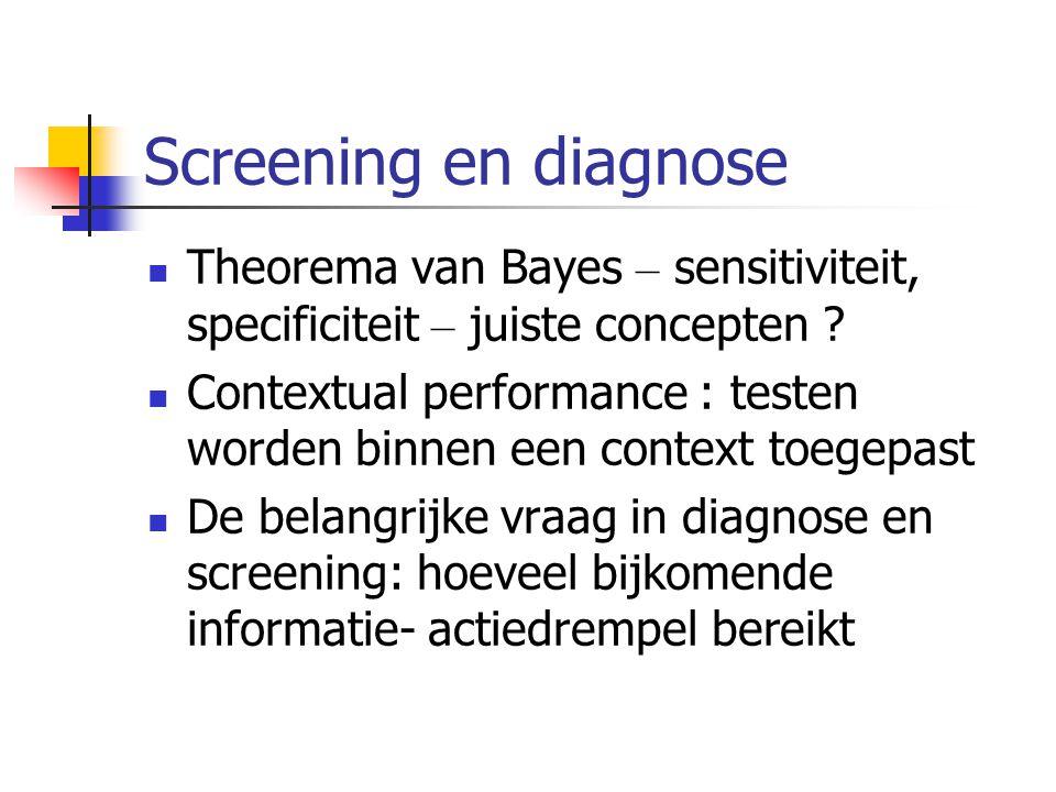 Screening en diagnose Theorema van Bayes – sensitiviteit, specificiteit – juiste concepten