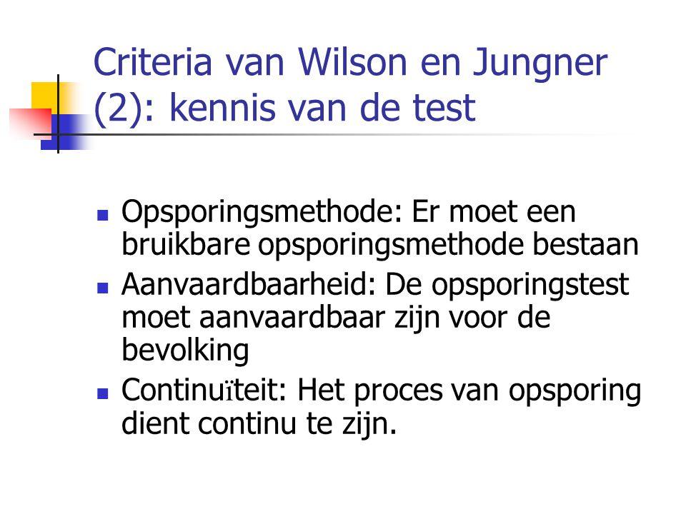 Criteria van Wilson en Jungner (2): kennis van de test