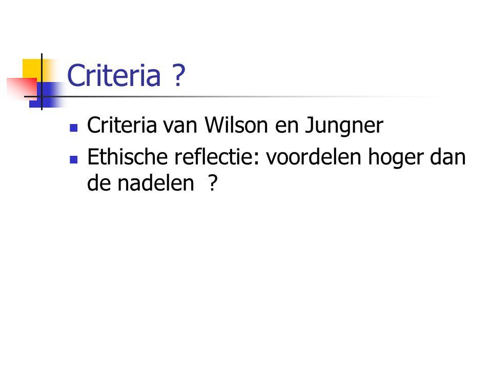 Criteria Criteria van Wilson en Jungner