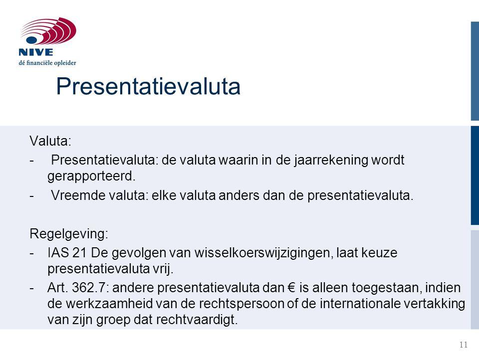 Presentatievaluta Valuta:
