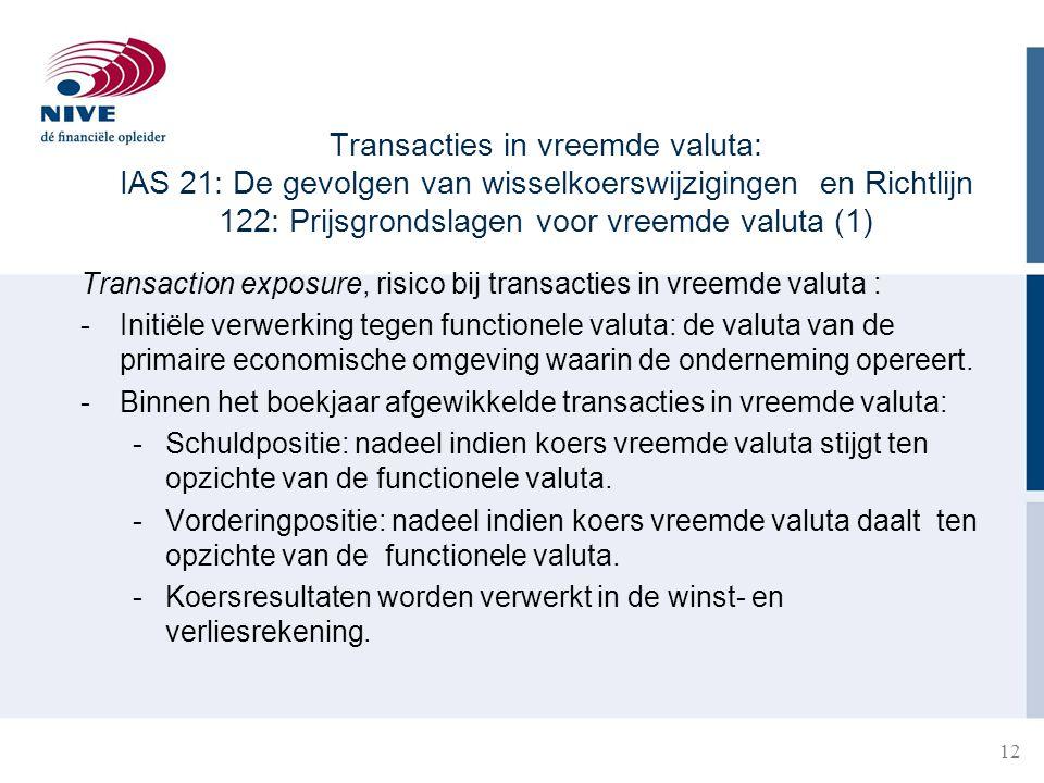 Transacties in vreemde valuta: IAS 21: De gevolgen van wisselkoerswijzigingen en Richtlijn 122: Prijsgrondslagen voor vreemde valuta (1)