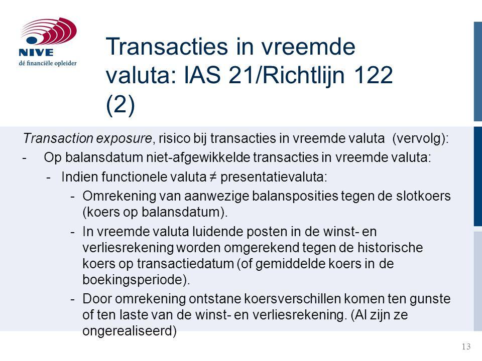 Transacties in vreemde valuta: IAS 21/Richtlijn 122 (2)
