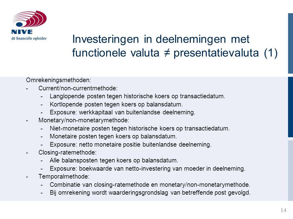Investeringen in deelnemingen met functionele valuta ≠ presentatievaluta (1)
