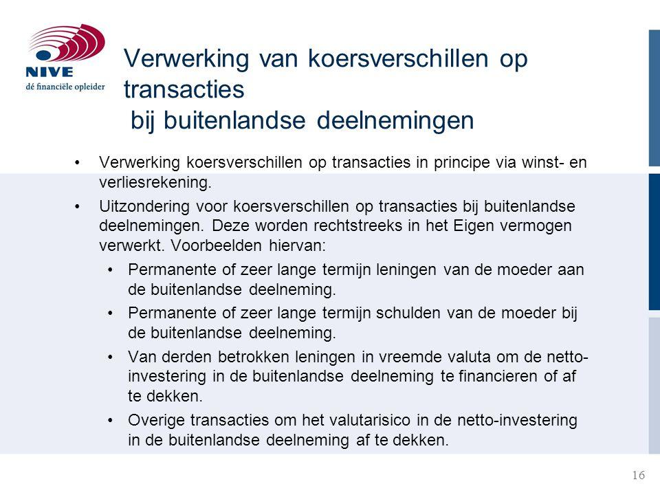 Verwerking van koersverschillen op transacties bij buitenlandse deelnemingen