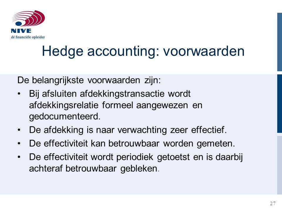 Hedge accounting: voorwaarden