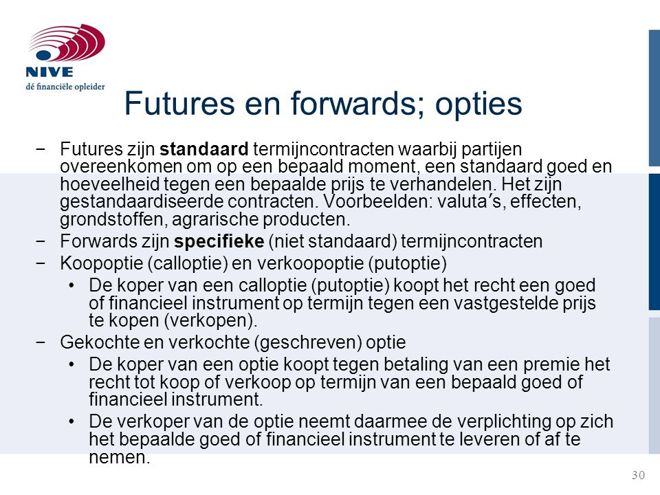 Futures en forwards; opties
