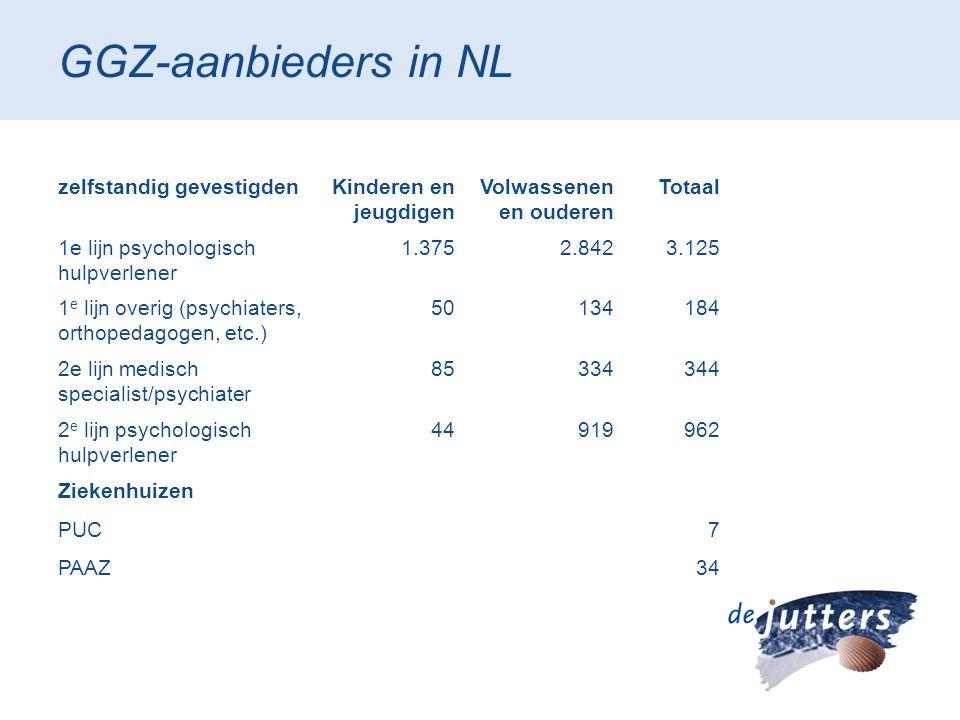 GGZ-aanbieders in NL zelfstandig gevestigden Kinderen en jeugdigen