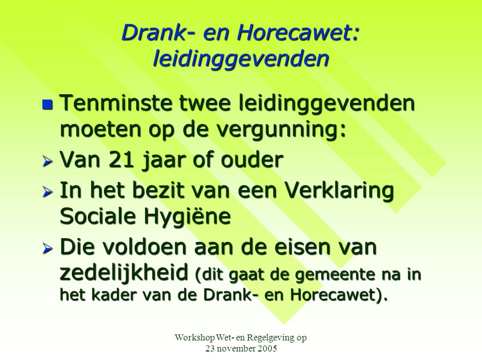 Drank- en Horecawet: leidinggevenden