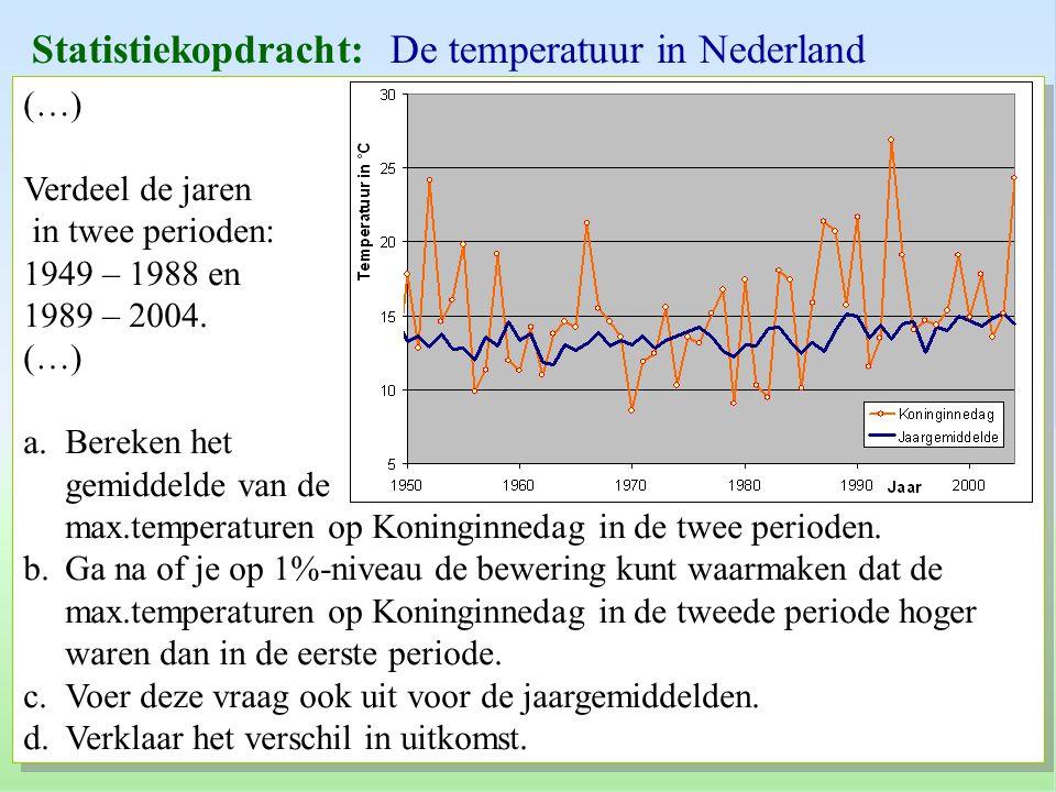 Statistiekopdracht: De temperatuur in Nederland
