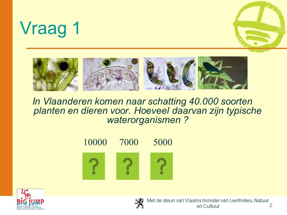 4-4-2017 Vraag 1. In Vlaanderen komen naar schatting 40.000 soorten planten en dieren voor. Hoeveel daarvan zijn typische waterorganismen