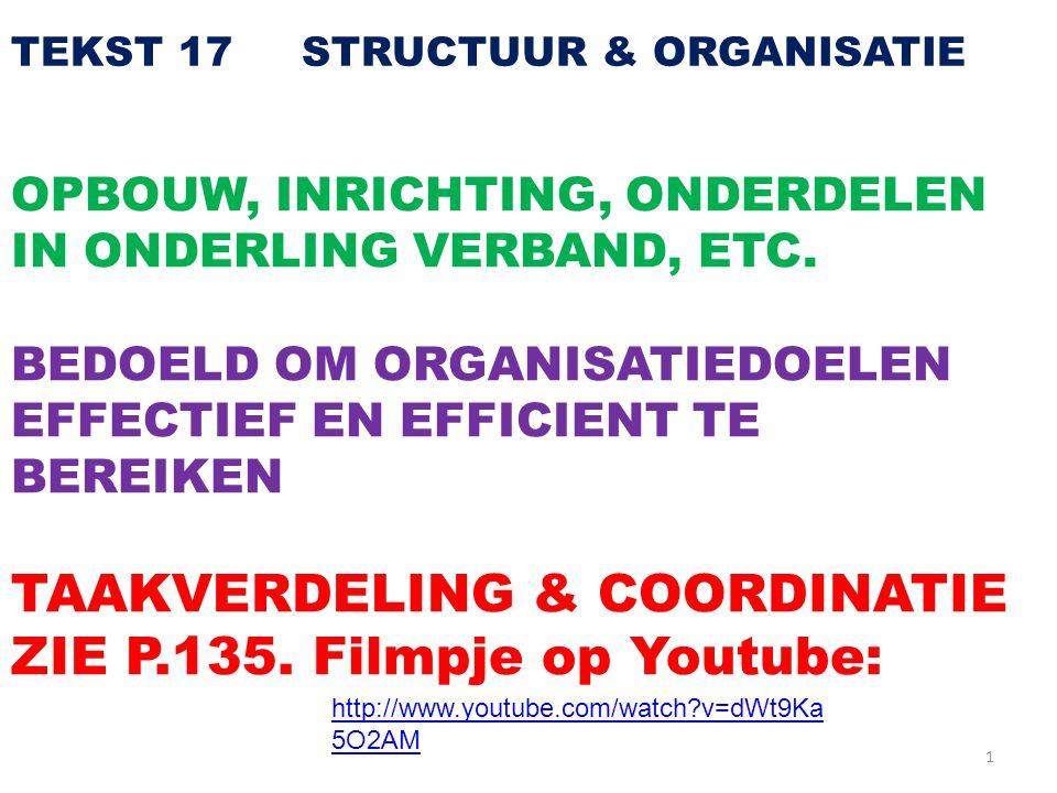 TAAKVERDELING & COORDINATIE ZIE P.135. Filmpje op Youtube: