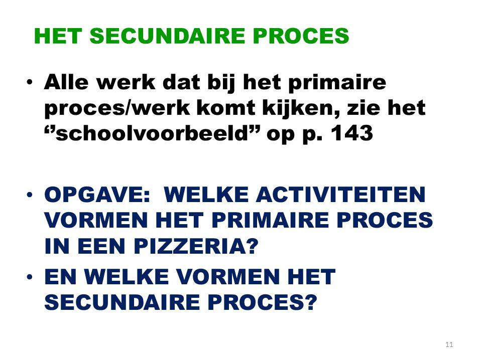 HET SECUNDAIRE PROCES Alle werk dat bij het primaire proces/werk komt kijken, zie het ''schoolvoorbeeld'' op p. 143.