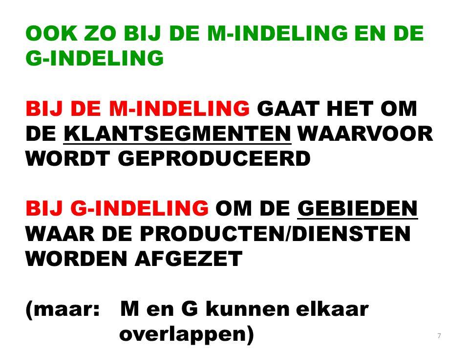 OOK ZO BIJ DE M-INDELING EN DE G-INDELING