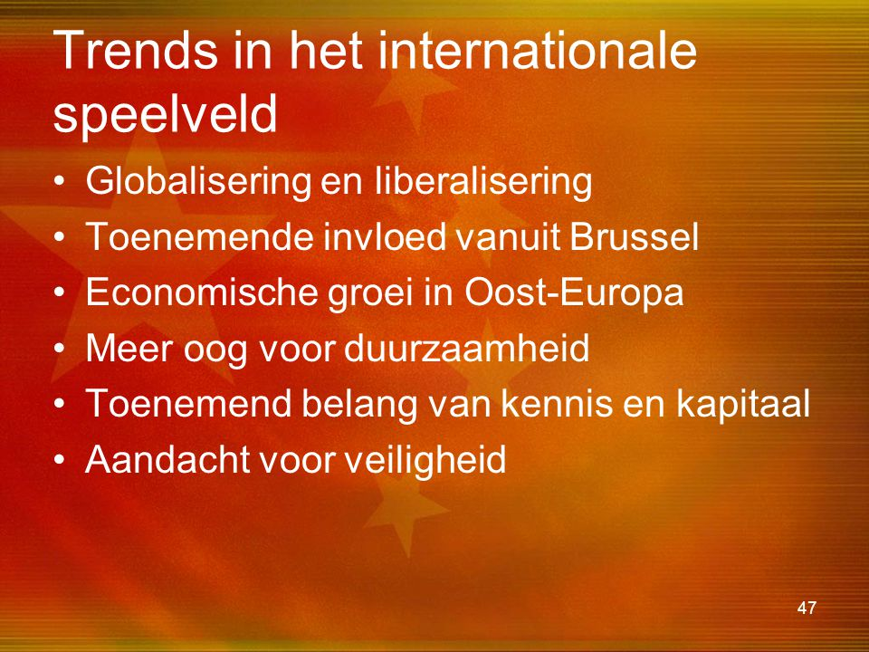 Trends in het internationale speelveld
