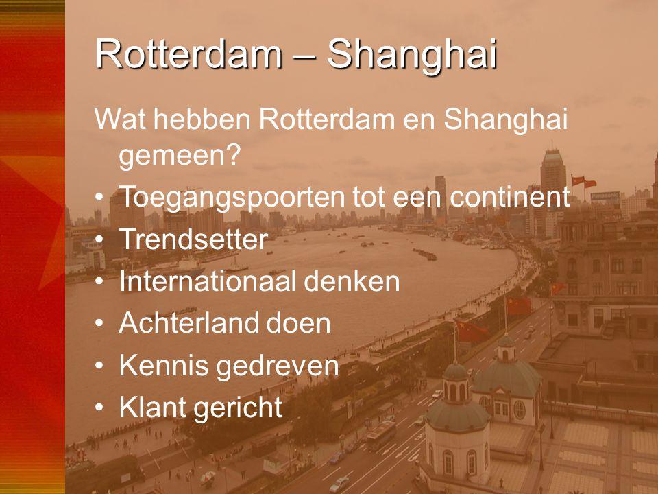 Rotterdam – Shanghai Wat hebben Rotterdam en Shanghai gemeen