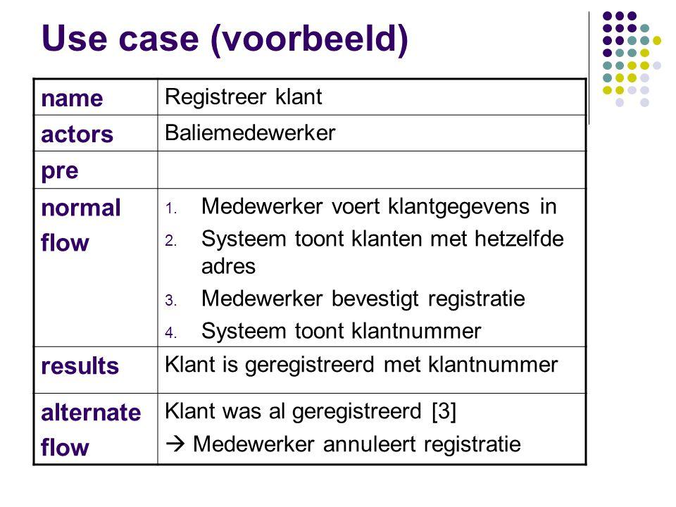 Use case (voorbeeld) name actors pre normal flow results alternate