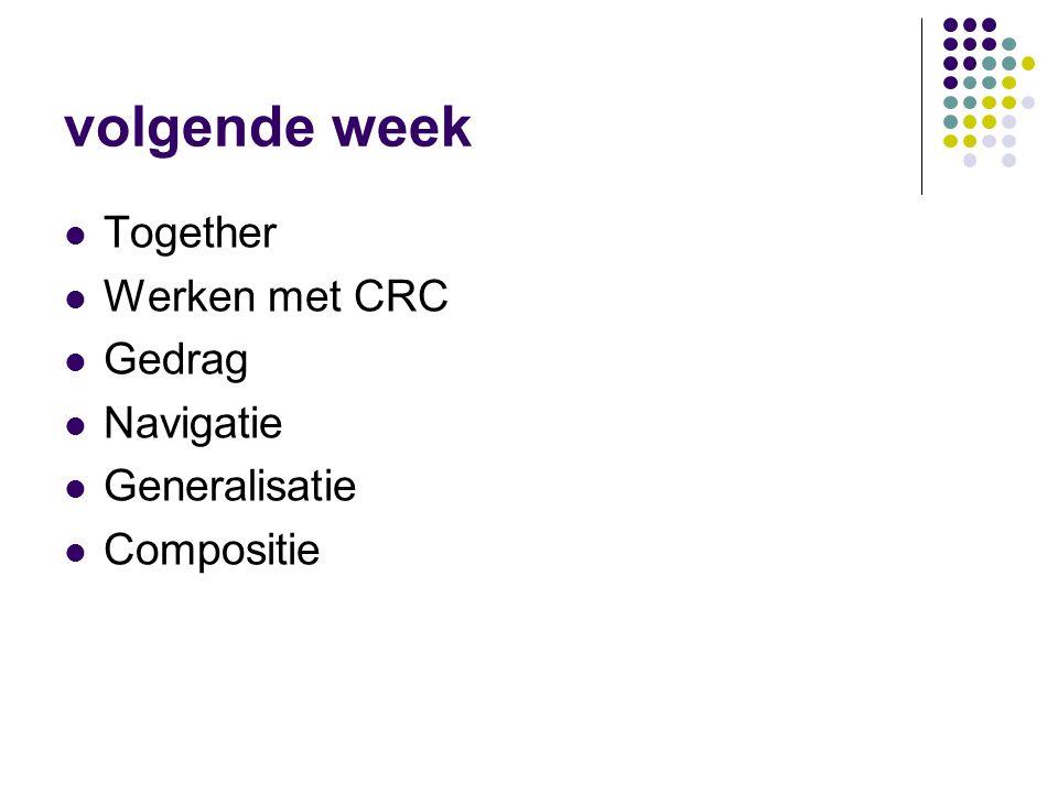 volgende week Together Werken met CRC Gedrag Navigatie Generalisatie