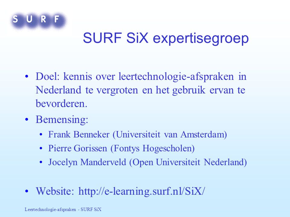 SURF SiX expertisegroep