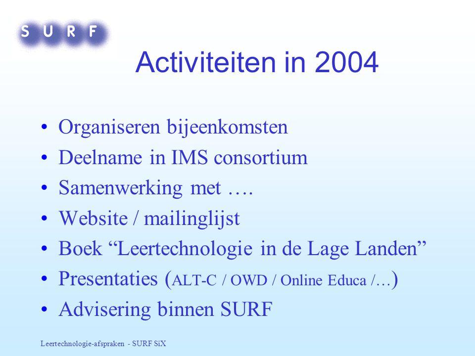 Activiteiten in 2004 Organiseren bijeenkomsten