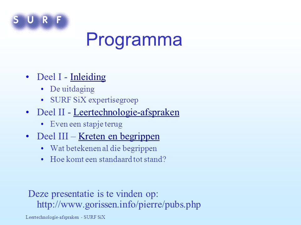 Programma Deel I - Inleiding Deel II - Leertechnologie-afspraken