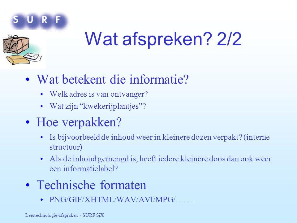 Wat afspreken 2/2 Wat betekent die informatie Hoe verpakken