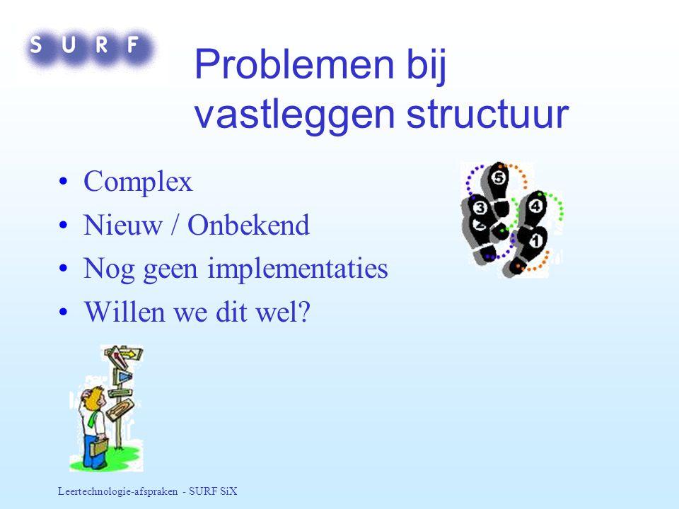 Problemen bij vastleggen structuur