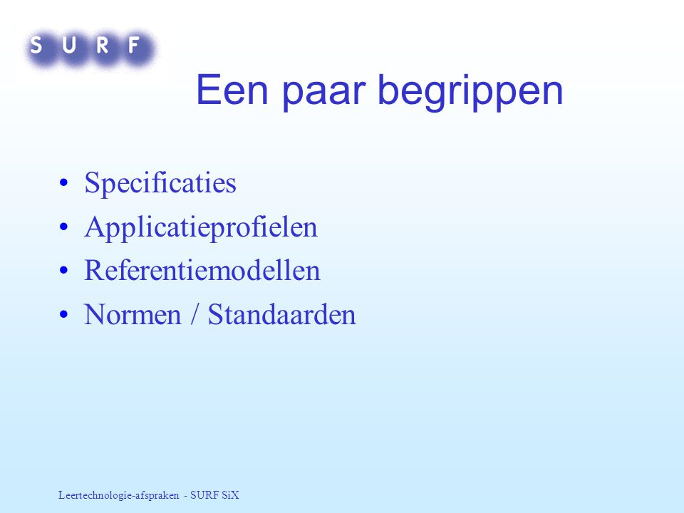 Een paar begrippen Specificaties Applicatieprofielen