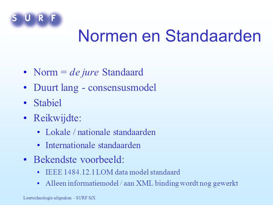 Normen en Standaarden Norm = de jure Standaard