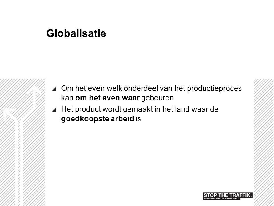 Globalisatie Om het even welk onderdeel van het productieproces kan om het even waar gebeuren.