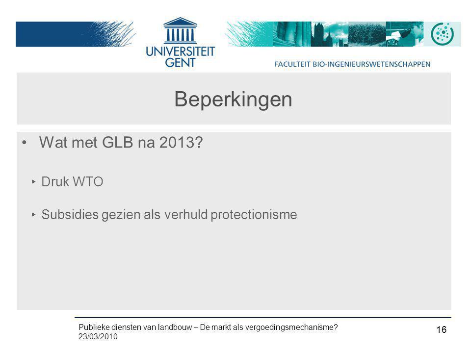 Beperkingen Wat met GLB na 2013 Druk WTO