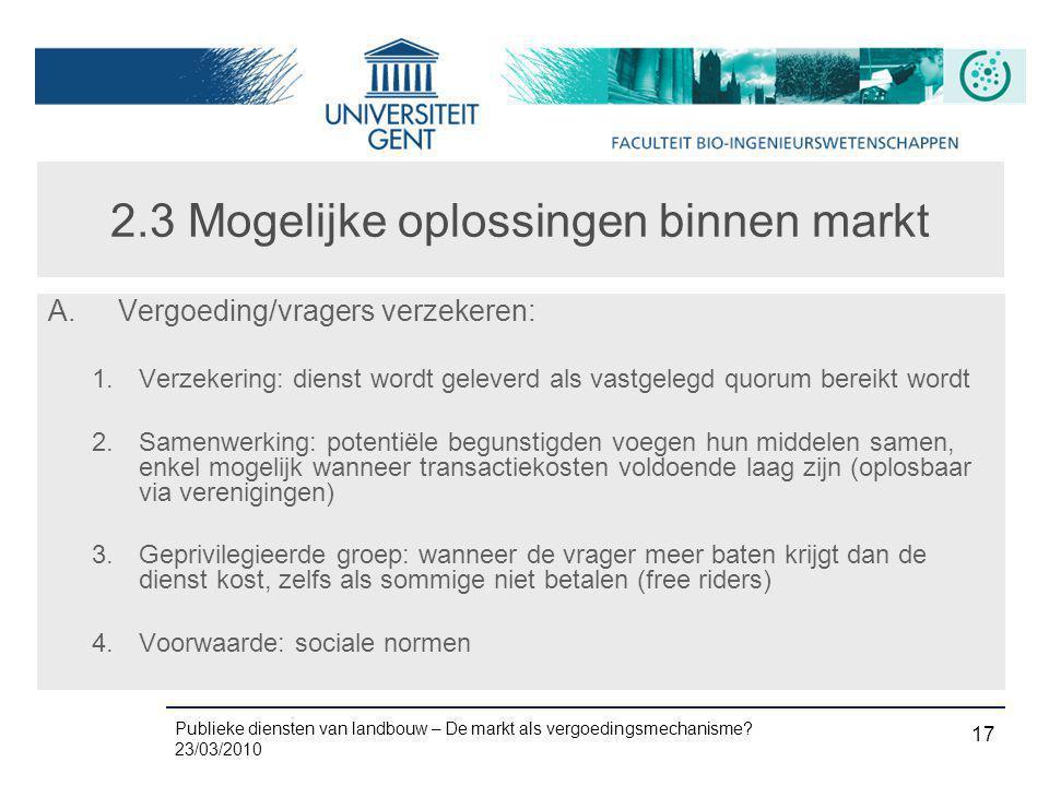 2.3 Mogelijke oplossingen binnen markt